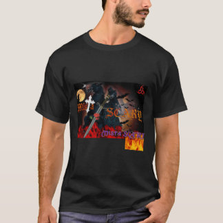 Grim Reaper Cross Sword Rose Flames Logo t-shirt