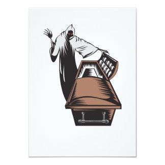 Grim Reaper Death Coffin Retro Personalized Announcements