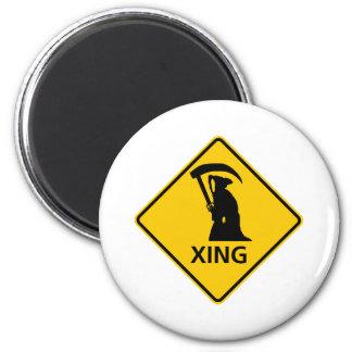 Grim Reaper / Death Crossing Highway Sig 2 Inch Round Magnet