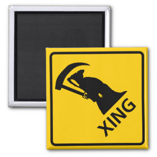 Grim Reaper / Death Crossing Highway Sig 2 Inch Square Magnet