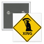 Grim Reaper / Death Crossing Highway Sig Pinback Buttons