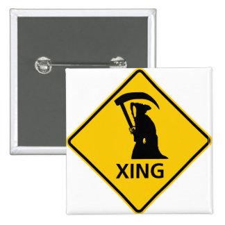 Grim Reaper / Death Crossing Highway Sig Pinback Buttons