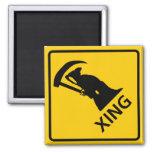 Grim Reaper / Death Crossing Highway Sig Refrigerator Magnet