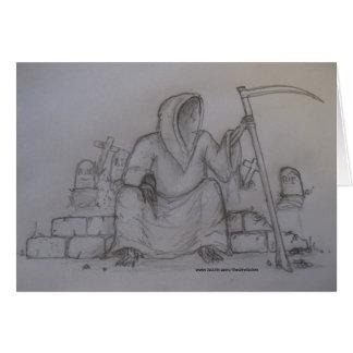 Grim Reaper Death Pencil Drawing Card
