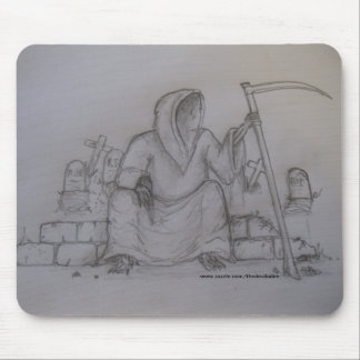 Grim Reaper Death Pencil Drawing Mousepad