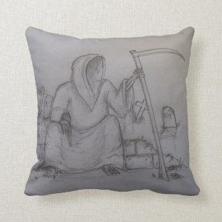 Grim Reaper Death Pencil Drawing Pillow
