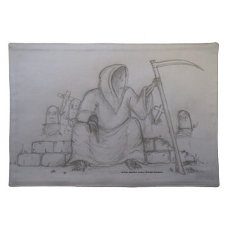Grim Reaper Death Pencil Drawing Table Placemat