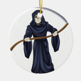 Grim Reaper Death Skeleton Ceramic Ornament