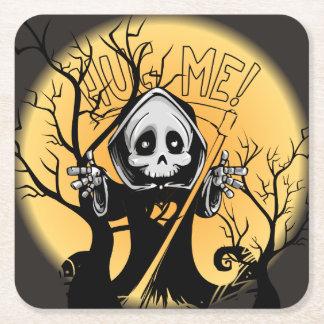 Grim Reaper for Halloween Square Paper Coaster