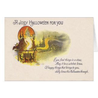 Grim Reaper Full Moon Owl Witch Cauldron Card