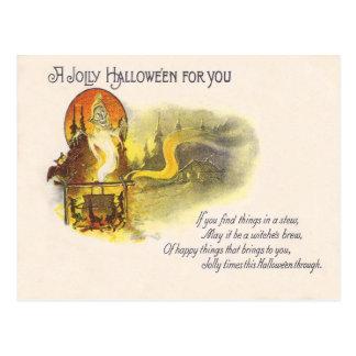 Grim Reaper Full Moon Owl Witch Cauldron Postcard