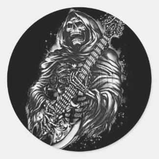 Grim  Reaper Guitar Classic Round Sticker
