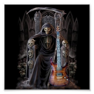 Grim Reaper Guitar in Hell Posters