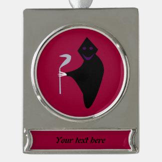 Grim Reaper Halloween CustomOrnament Silver Plated Banner Ornament