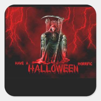 Grim Reaper Halloween Greeting Square Sticker
