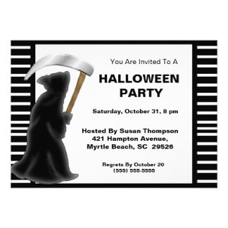 Grim Reaper Halloween Party Invitations