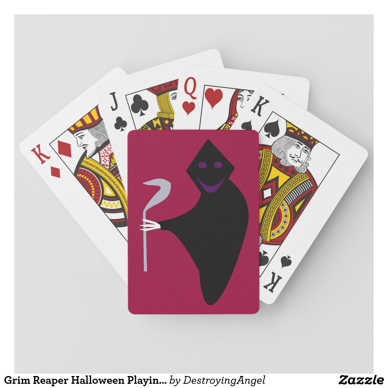 grim reaper halloween playing cards zazzle