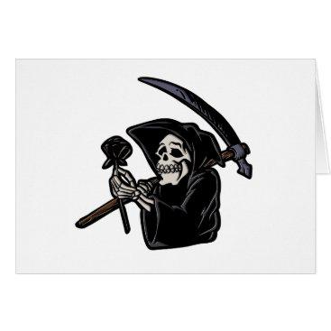 Grim reaper holding flower