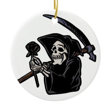 Grim reaper holding flower ceramic ornament