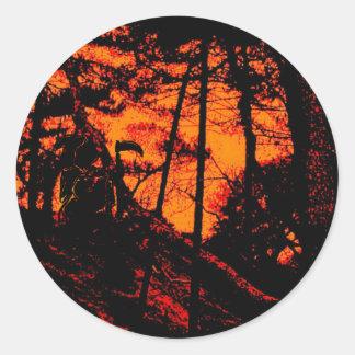 Grim Reaper in Scary Orange Lit Forest Classic Round Sticker
