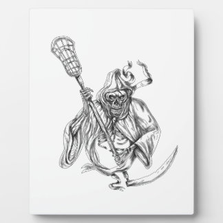 Grim Reaper Lacrosse Defense Pole Tattoo Plaque