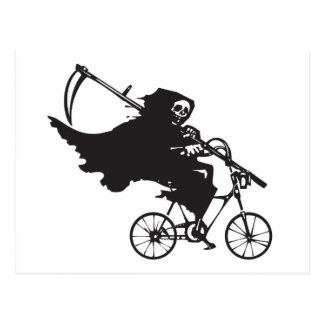 Grim Reaper on a Bicycle Postcard