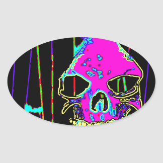 Grim Reaper over VALPYRA Pink by Valpyra Oval Sticker