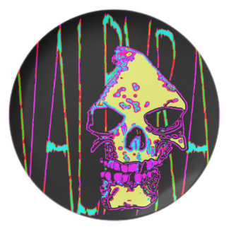 Grim Reaper over VALPYRA Yellow by Valpyra Melamine Plate