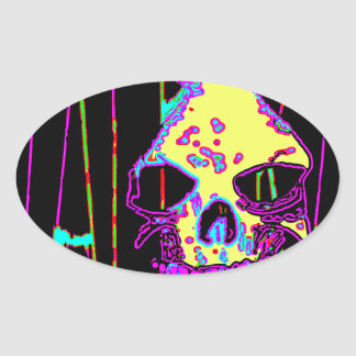 Grim Reaper over VALPYRA Yellow by Valpyra Oval Sticker