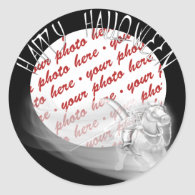 Grim Reaper Rides Again Halloween Photo Frame Round Stickers