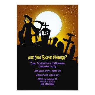 "Grim Reaper Scary Halloween Party 5"" X 7"" Invitation Card"