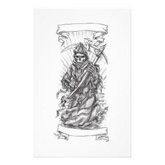 Grim Reaper Scythe Ribbon Tattoo Stationery