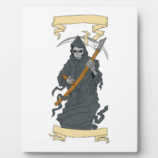 Grim Reaper Scythe Scroll Drawing Plaque