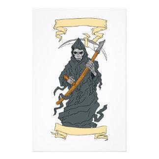 Grim Reaper Scythe Scroll Drawing Stationery