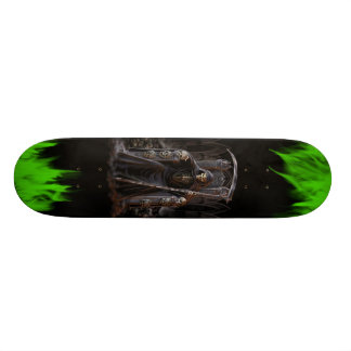 Grim Reaper Skateboard with Green Flames