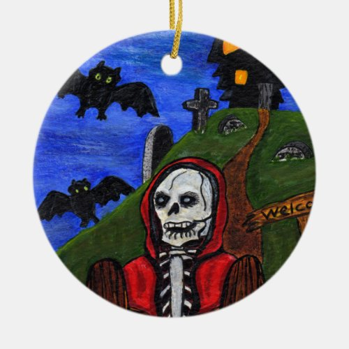 Grim Reaper Skeleton Bats Tombstones Black House Ceramic Ornament