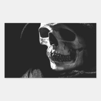 Grim Reaper Skull Rectangular Sticker