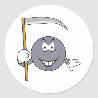 Grim Reaper Smiley Face Round Sticker