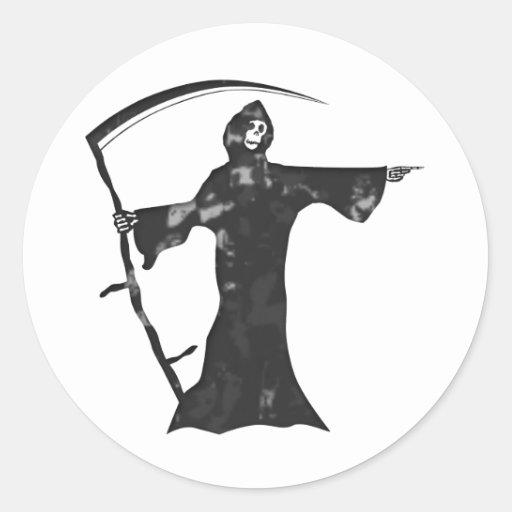 Grim reaper round sticker