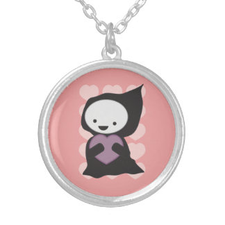 Grim Reaper with Heart Round Pendant Necklace