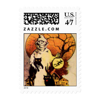 Grim Reaper With His Black Cats Postage Stamp