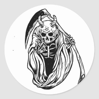 Grim Reaper with horns and grenades Classic Round Sticker