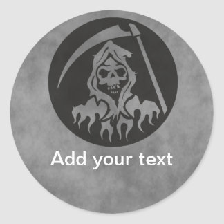 Grim Reaper with Scythe Classic Round Sticker
