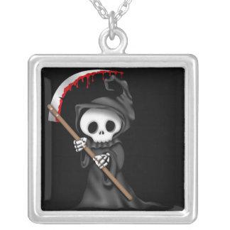 Grim Reeper Monogram Sterling Silver Necklace