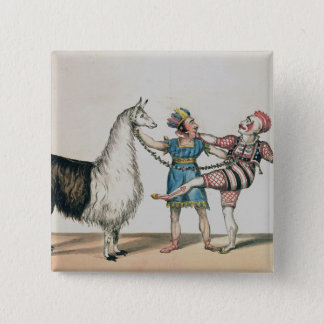 Grimaldi and the Alpaca, in the Popular Pantomime Pinback Button