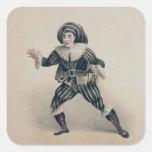 Grimaldi as Scaramouche, from the Commedia dell'Ar Square Sticker