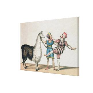 Grimaldi y la alpaca en la pantomima popular lienzo envuelto para galerias