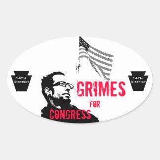 Grimes para el congreso pegatina ovalada