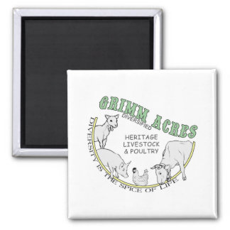 Grimm Acres, Diversified Logo 2 Inch Square Magnet