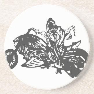 Grimm Reaper Chopper Motorcycle Sandstone Coaster